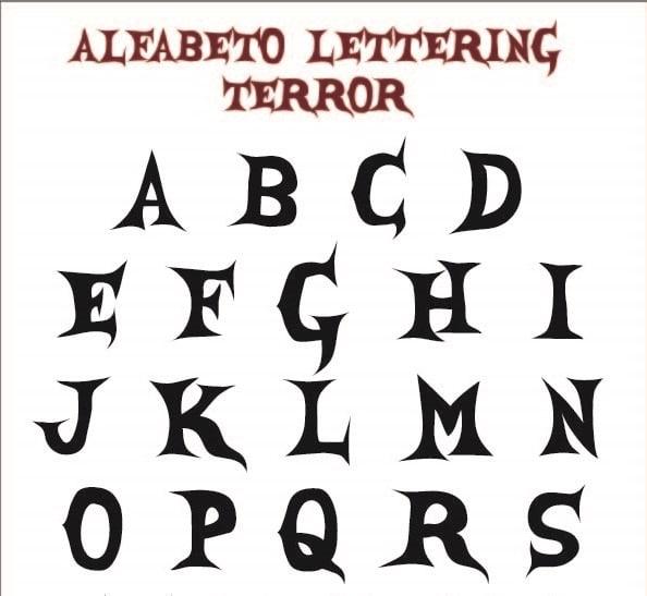 Alfabeto Lettering de Terror
