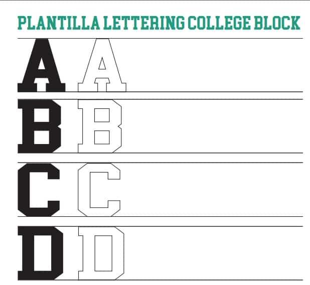 Plantilla Lettering College Block o de Universidad