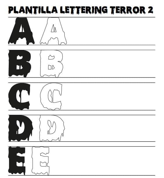 Plantilla Lettering de Terror Efecto Sangre o Derretido para Descargar Gratis