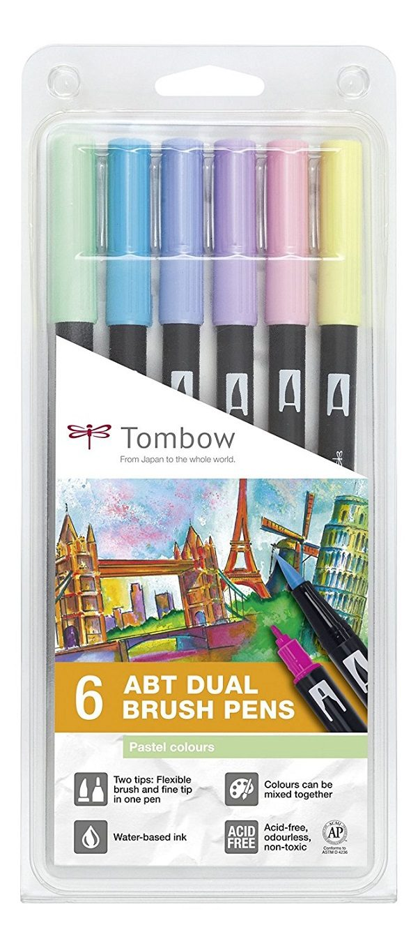 Comprar rotuladores lettering Tombow Dual Brush 6 colores pastel
