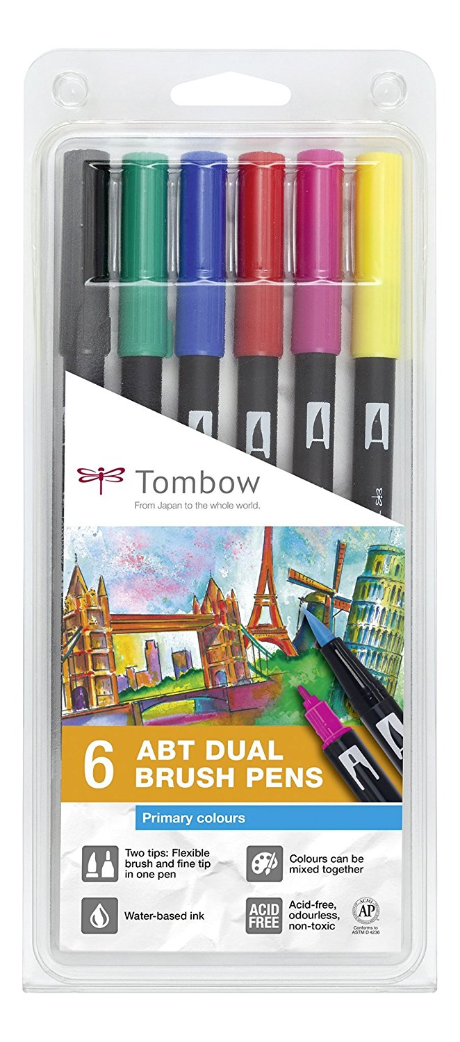 Comprar rotuladores lettering Tombow Dual Brush 6 colores vivos