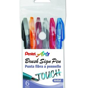 Rotuladores lettering Pentel Brush Sign Pen Touch de 6 colores