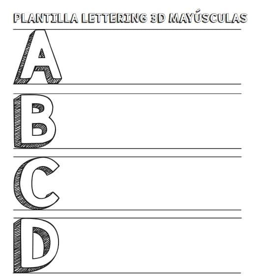 Plantilla Lettering 3d En Mayusculas Para Descargar Gratis Lettering