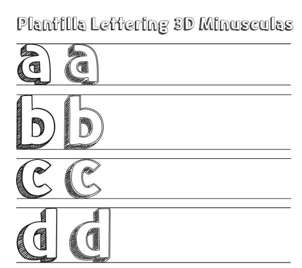 Plantilla Lettering 3D en Minúsculas para Descargar Gratis