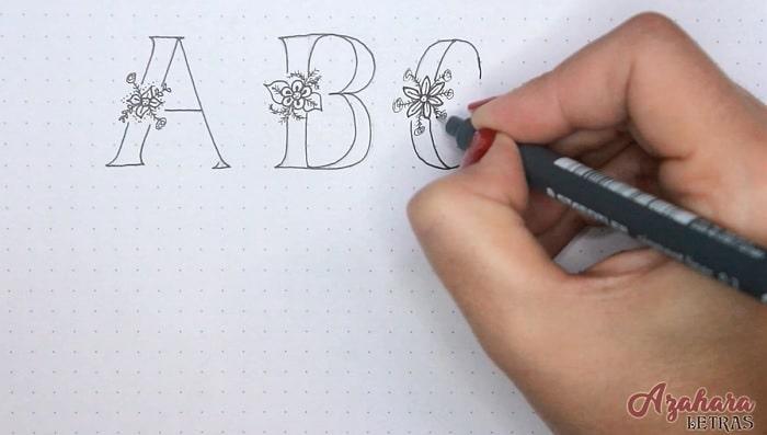 Lettering de flores paso 4