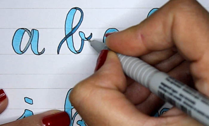 Tutorial lettering lazos ribbon letters paso 5