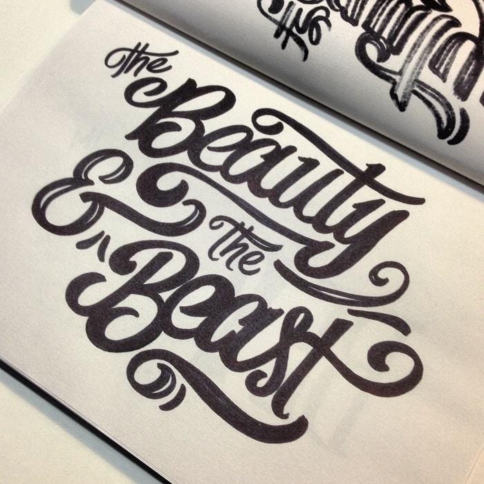Hand lettering La bella y la bestia