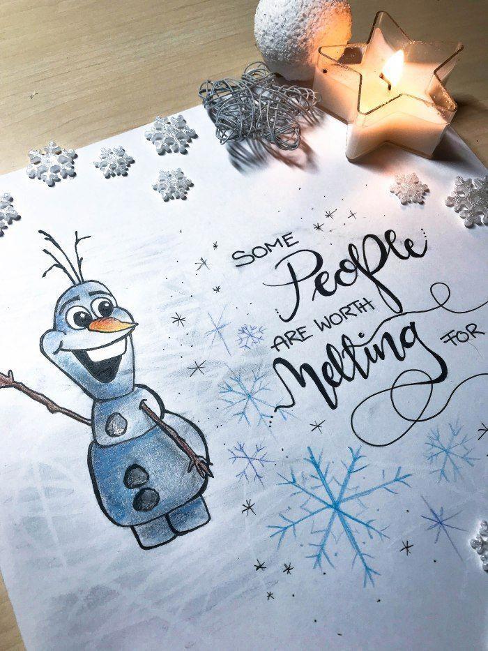 Hand lettering Olaf Frozen