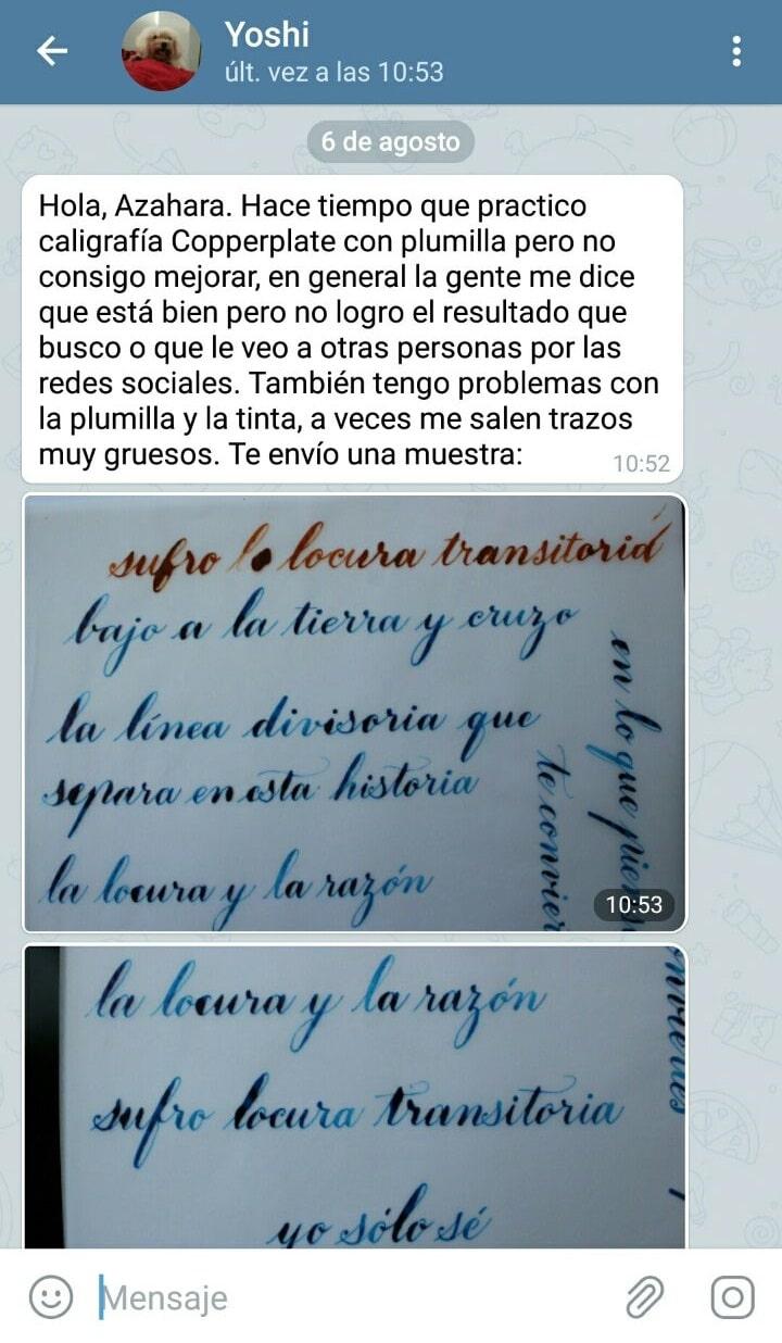 Asesoría caligrafía por Telegram