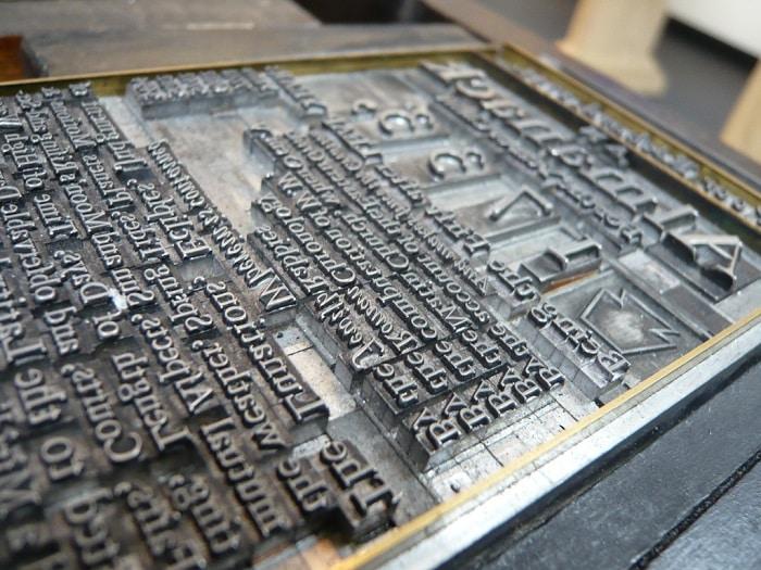 Imprenta tipos móviles de Gutemberg